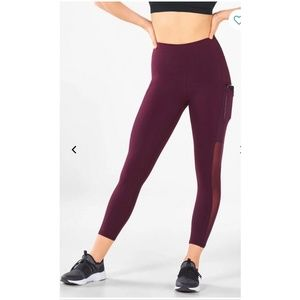 Fabletics High Waisted Crop with Pockets Burgundy
